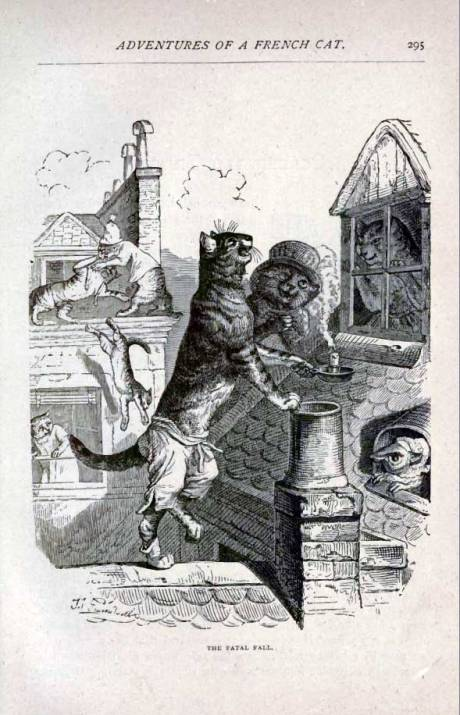 Image from J. J. Grandville's Adventures of a French Cat: a cat couple on a rooftop, looking in through a window as other cats move around them